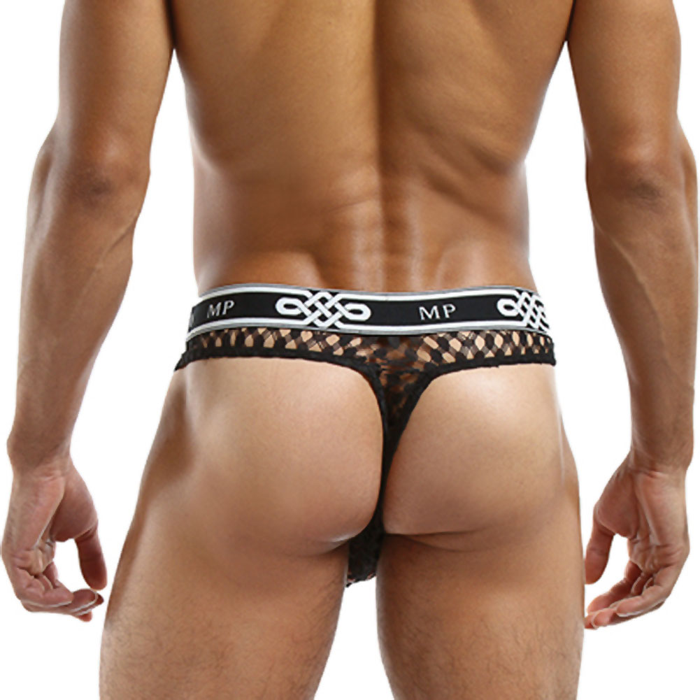 Male Power Lo Rise Thong Small/Medium Black - View #2