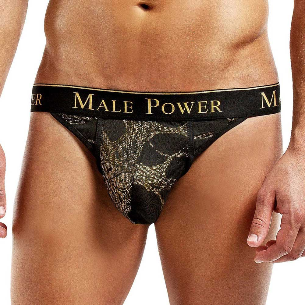 Male Power Enrichment Thong Small/Medium Black Gold - View #1