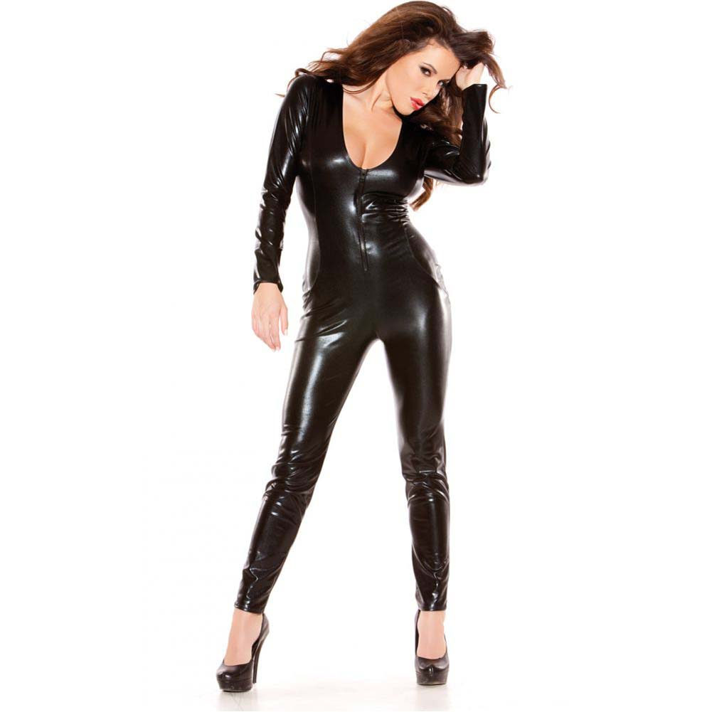 Kitten Wet Look Catsuit One Size Black - View #1
