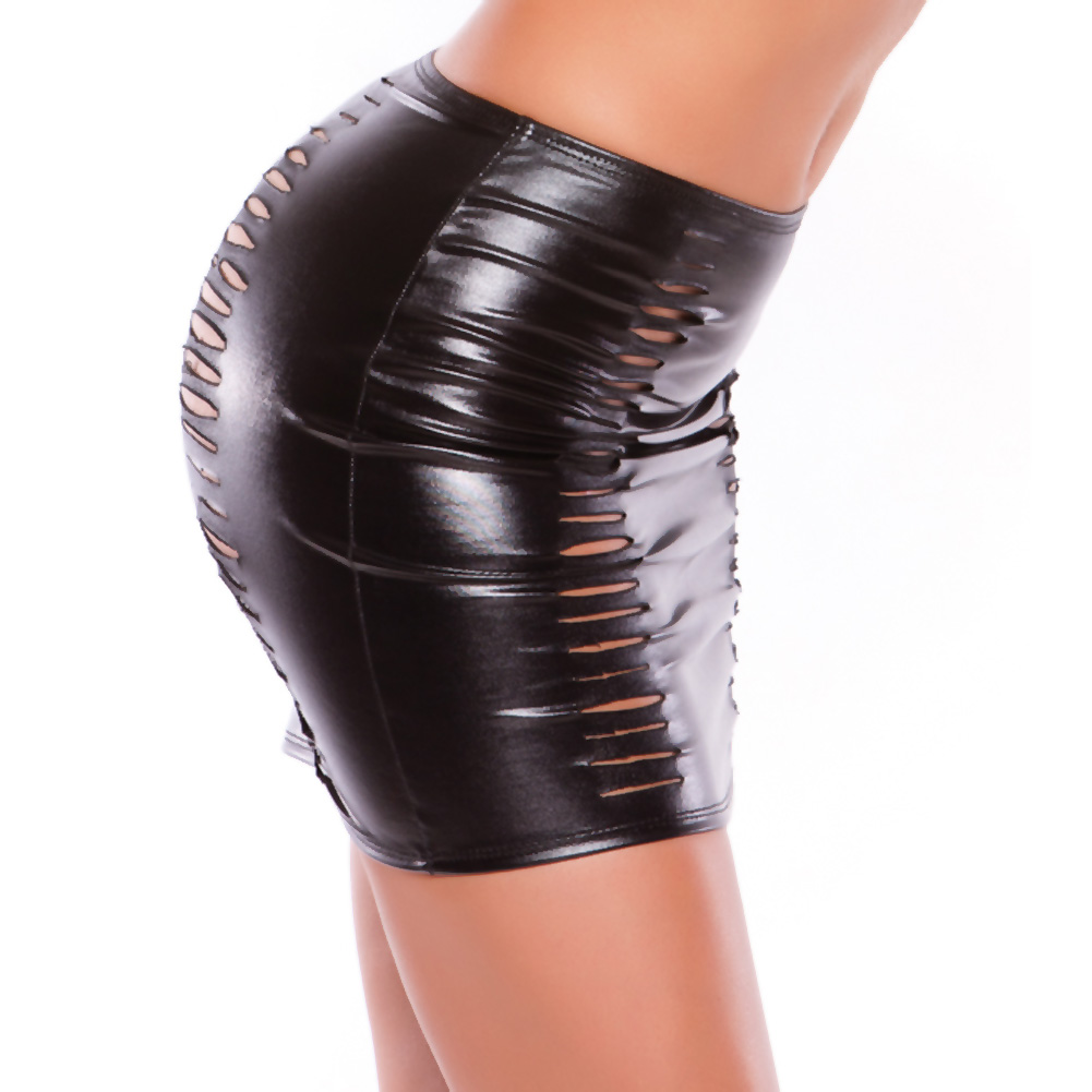 Kitten Wet Look Slashed Skirt Black One Size - View #2