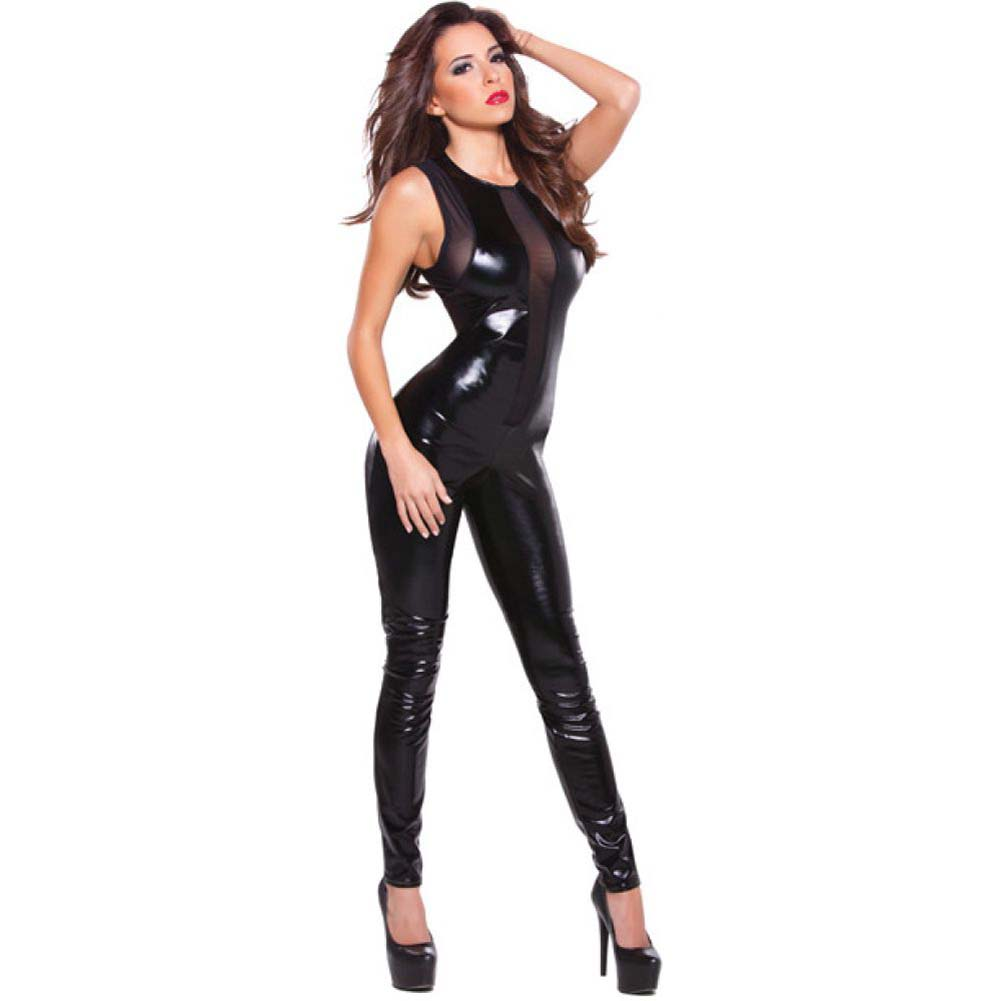 Kitten Wet Look and Front V Mesh Catsuit Black One Size - View #1