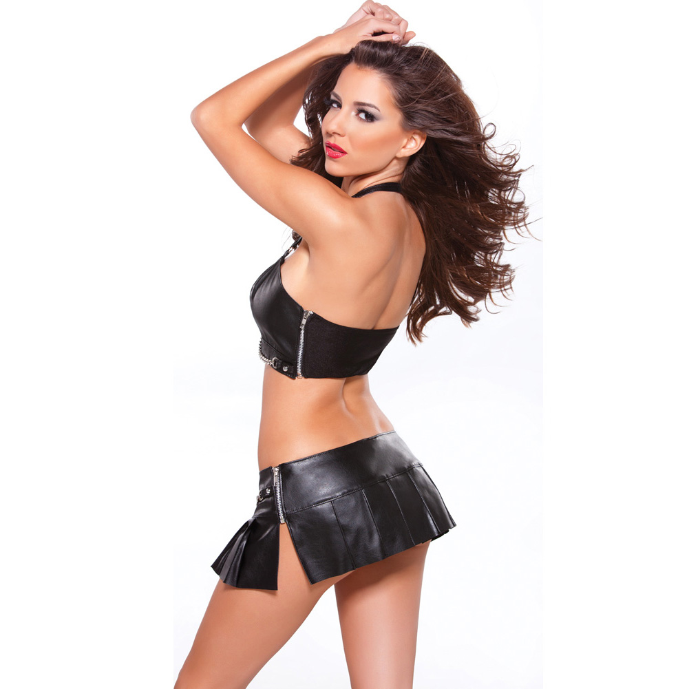 Allure Lingerie Faux Leather Pleated Mini Skirt with Silver Chain Extra Large Black - View #4