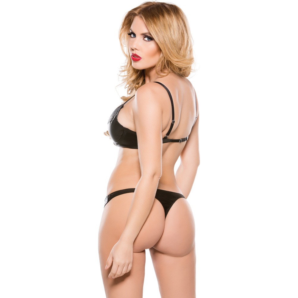 Faux Leather Snap Front Bra and Thong Set Black Small - View #2
