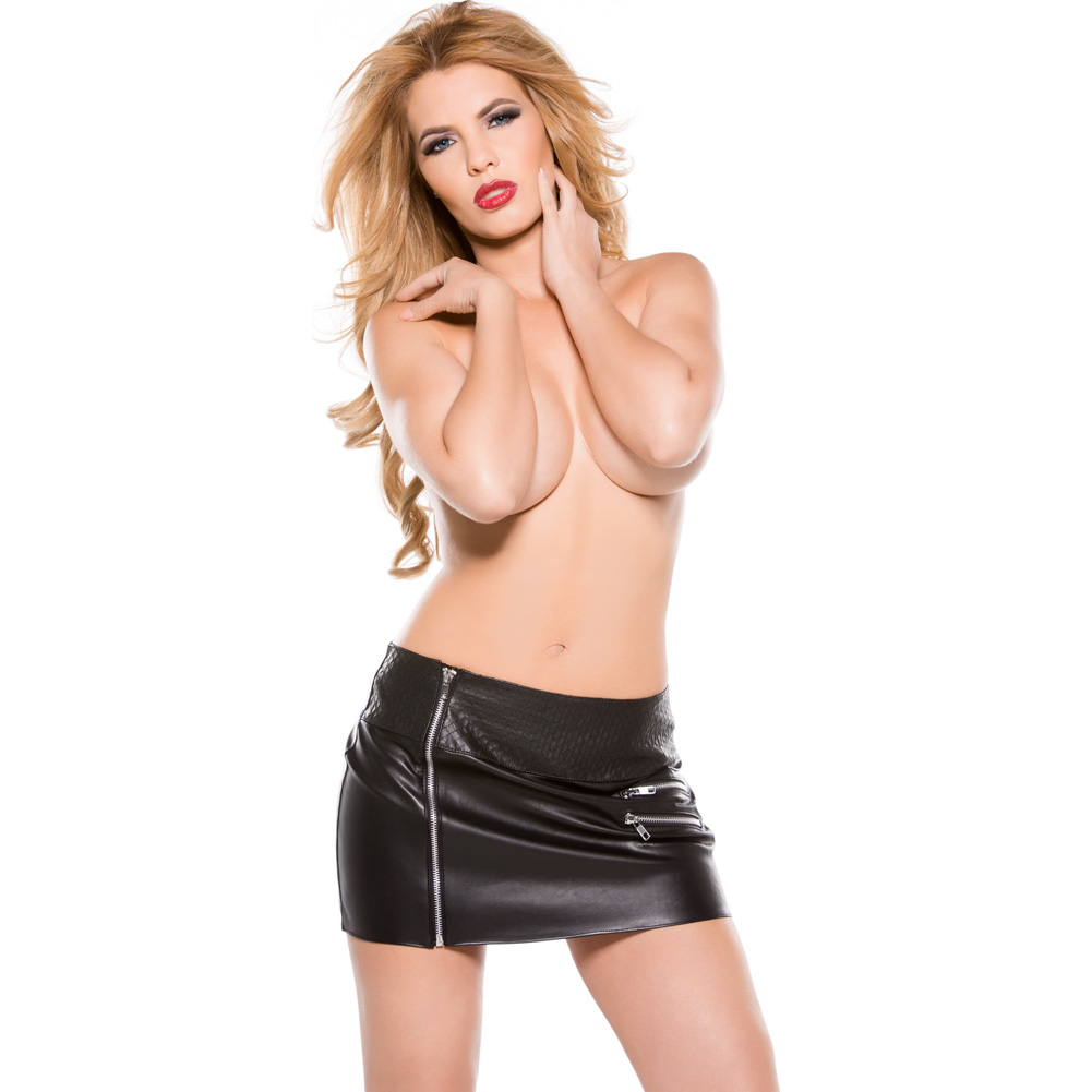 Faux Leather Zipper Skirt Black Small - View #3