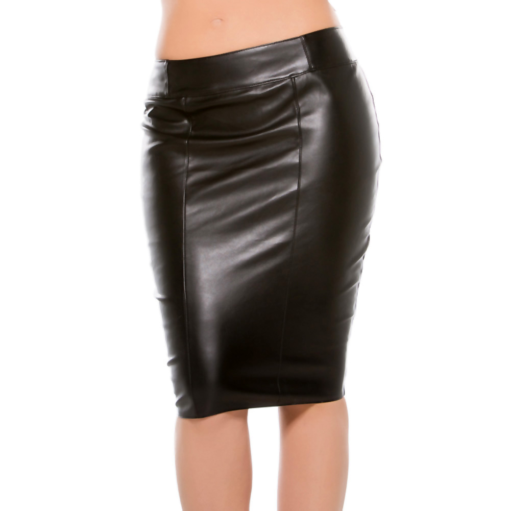 Faux Leather Pencil Skirt Black Small - View #2