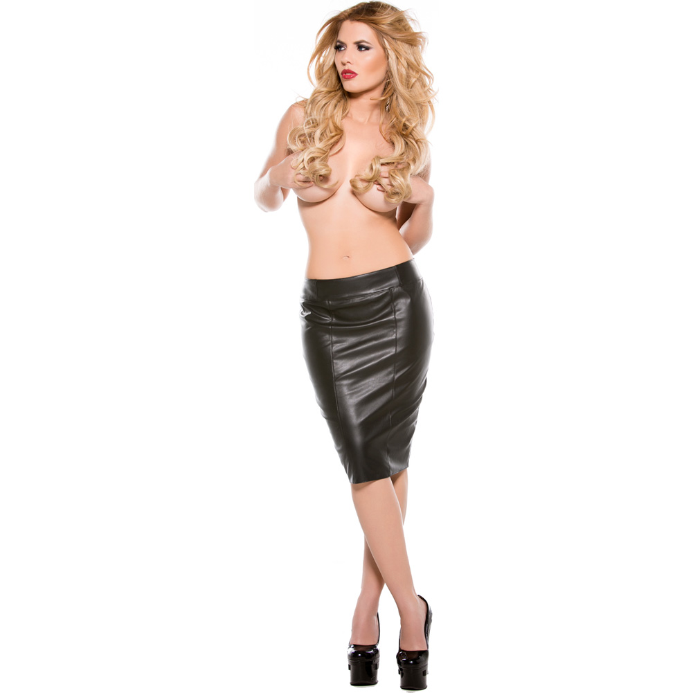 Faux Leather Pencil Skirt Black Small - View #4