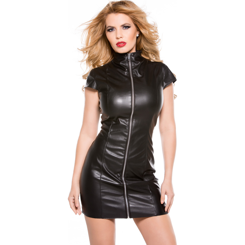 Faux Leather Dress Black Small - View #3