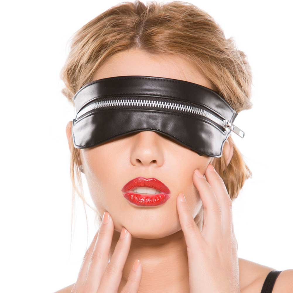Black Faux Leather Zip Mask One Size - View #2
