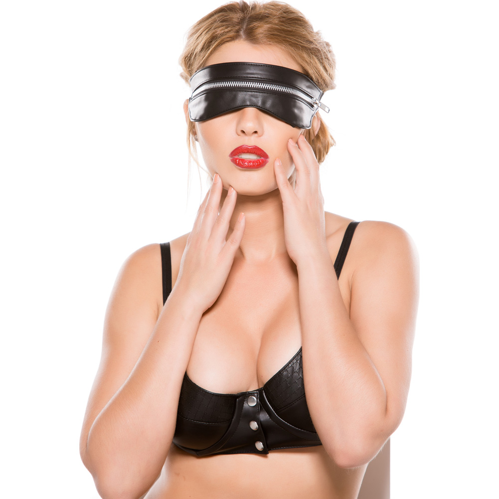 Black Faux Leather Zip Mask One Size - View #4