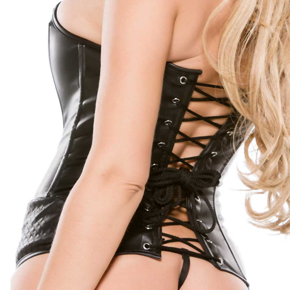 Faux Leather Corset Black Extra Large - View #4
