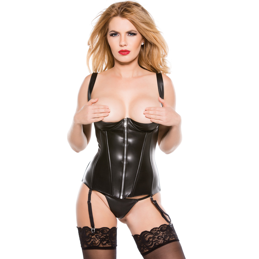 Faux Leather 1/4 Cup Corset Black Large - View #2