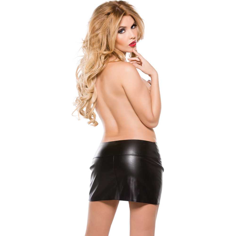 Faux Leather Zipper Skirt Black Large - View #4