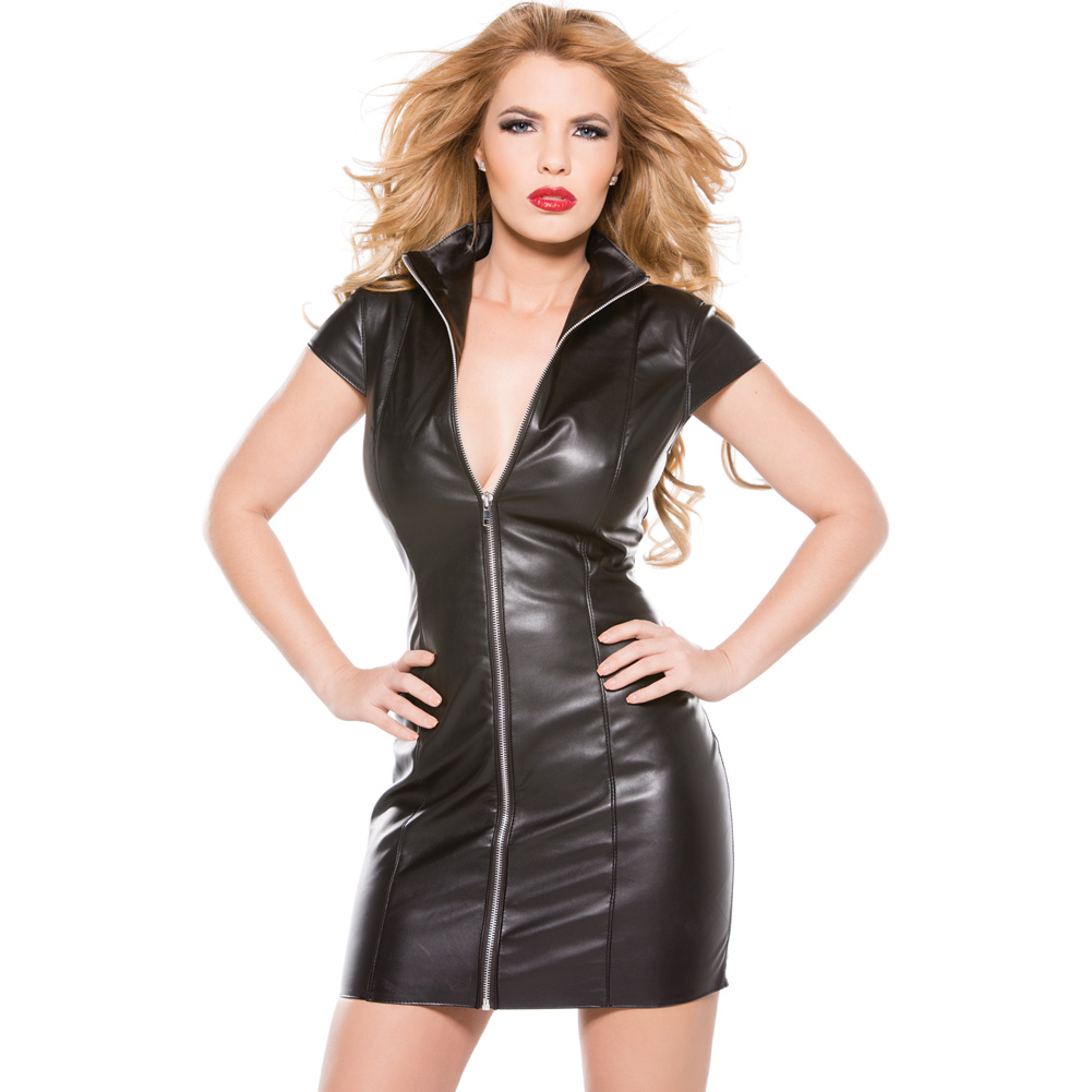 Faux Leather Dress Black Large - View #1