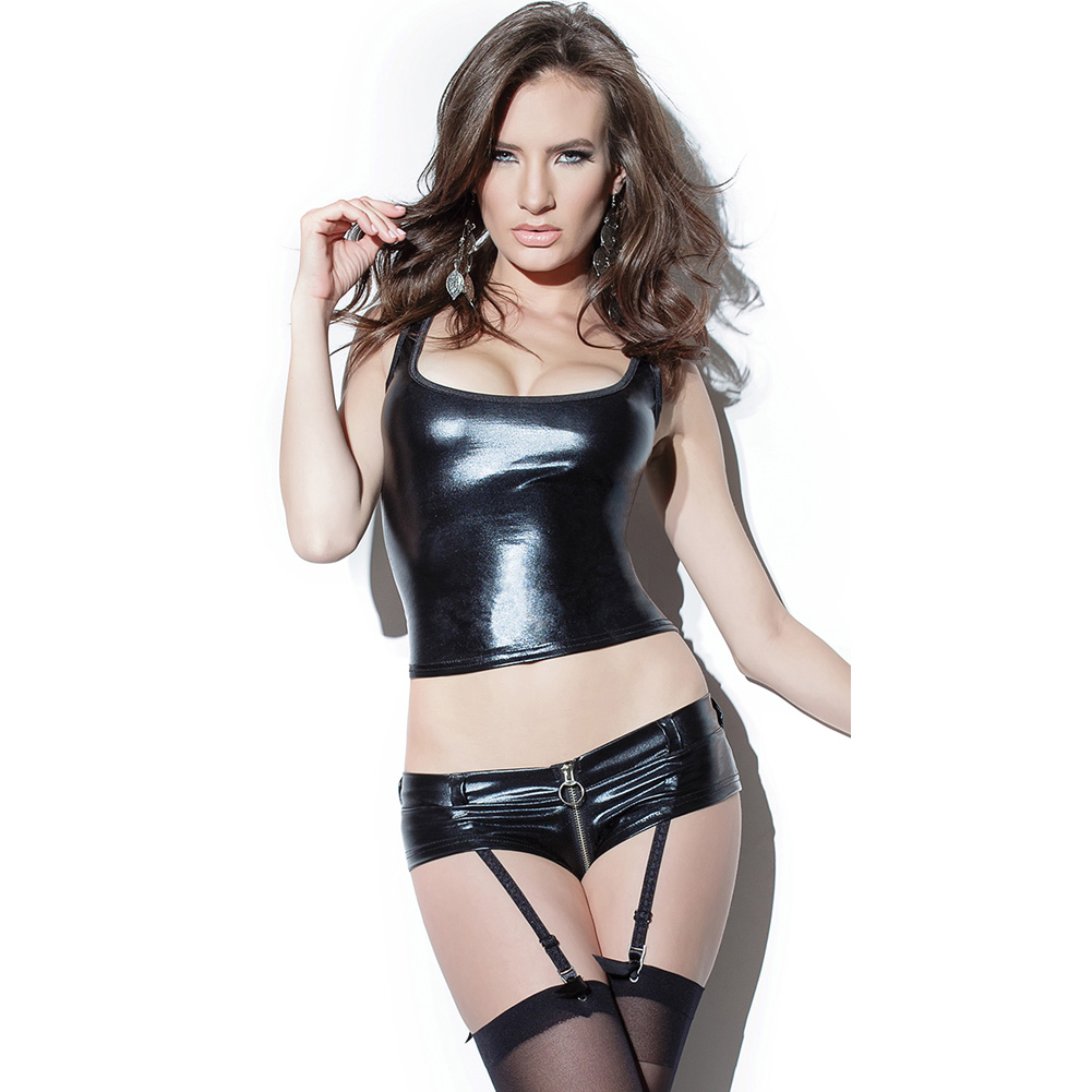 Darque Wet Look Booty Short with Front to Back Zipper and Removable Garters Black Small - View #3