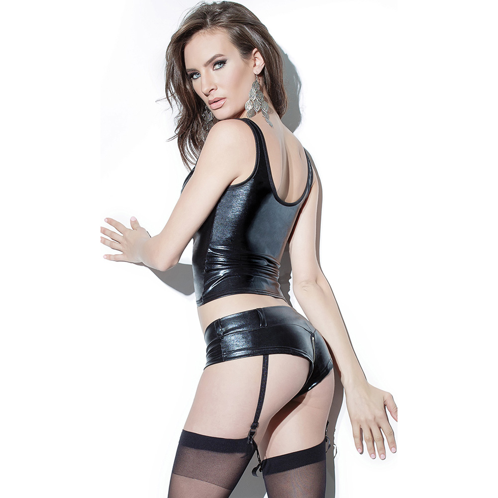 Darque Wet Look Booty Short with Front to Back Zipper and Removable Garters Black Medium - View #4
