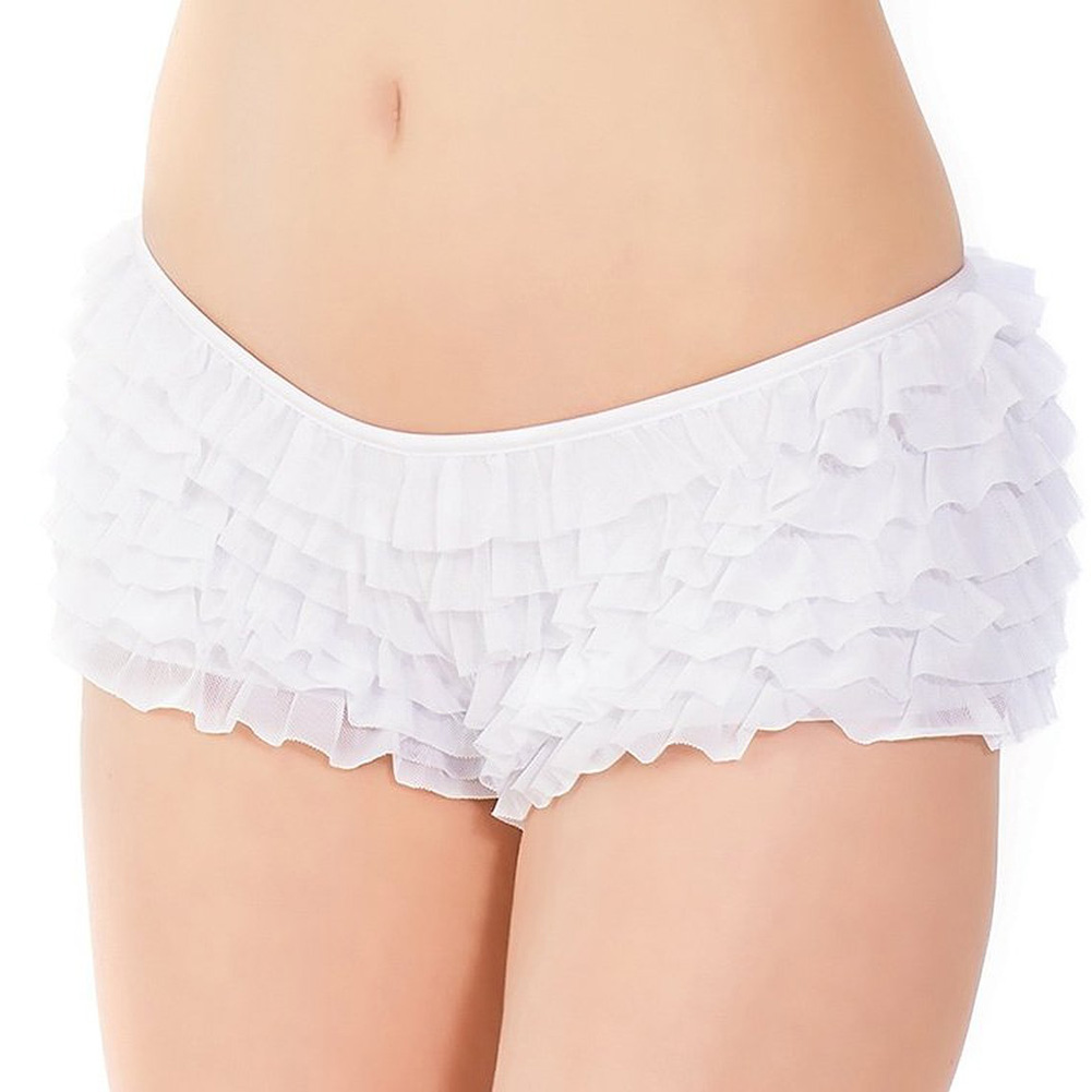 Ruffle Shorts with Back Bow Detai White One Size - View #2