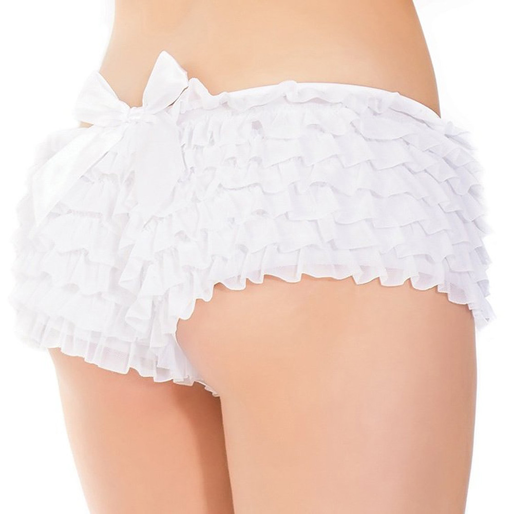 Ruffle Shorts with Back Bow Detail White One Size Extra Large - View #1