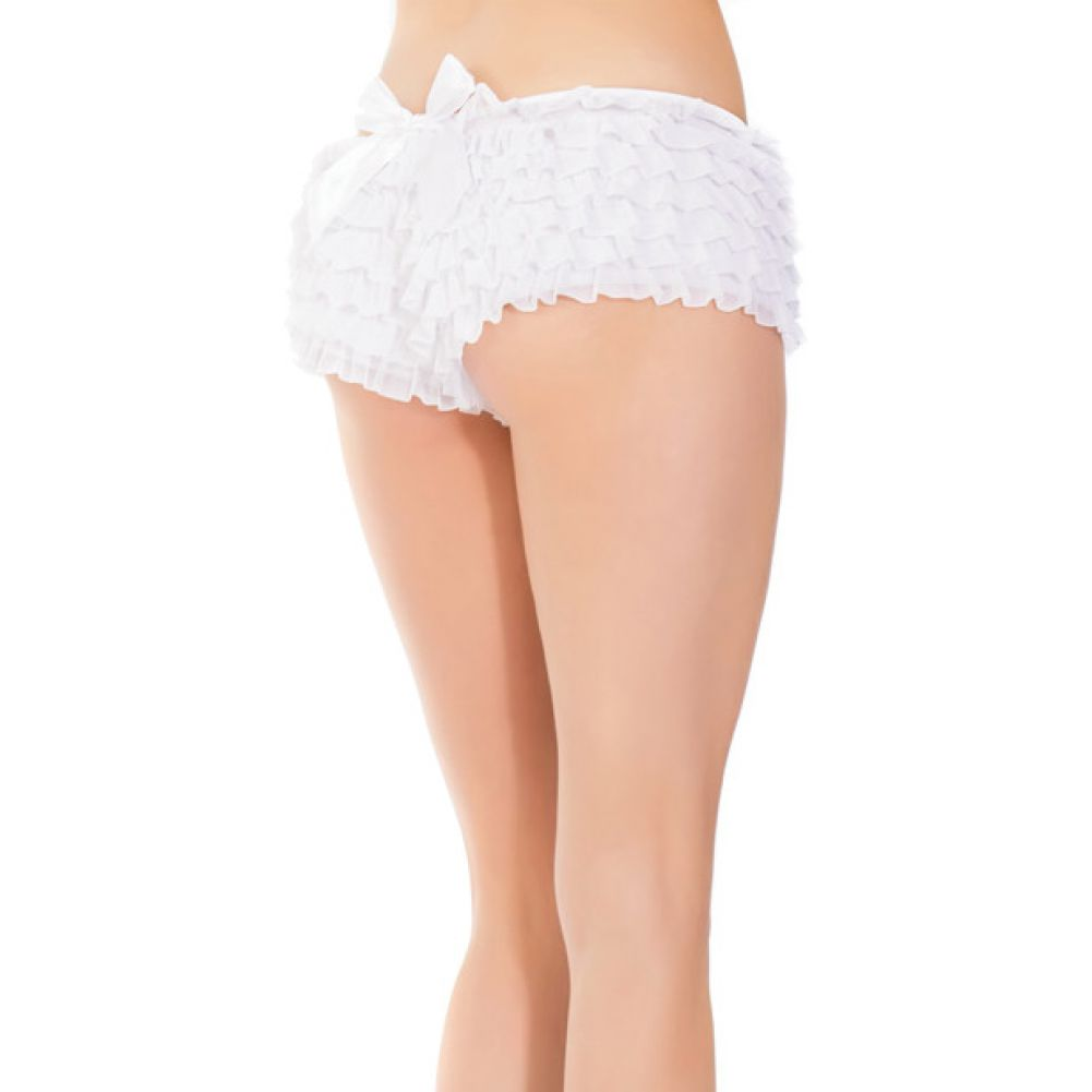 Ruffle Shorts with Back Bow Detail White One Size Extra Large - View #3