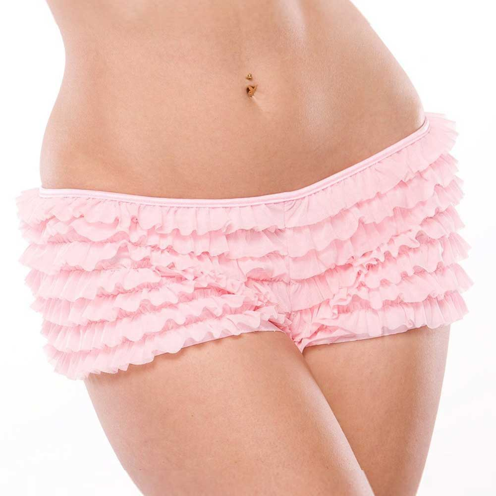 Ruffle Shorts with Back Bow Detail Pink One Size Extra Large - View #2
