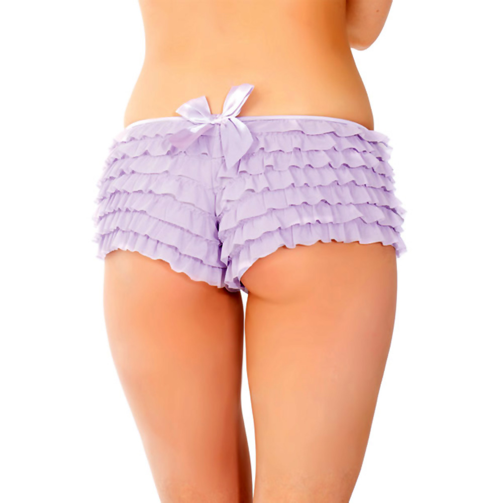 Ruffle Shorts with Back Bow Detail Lilac One Size - View #3
