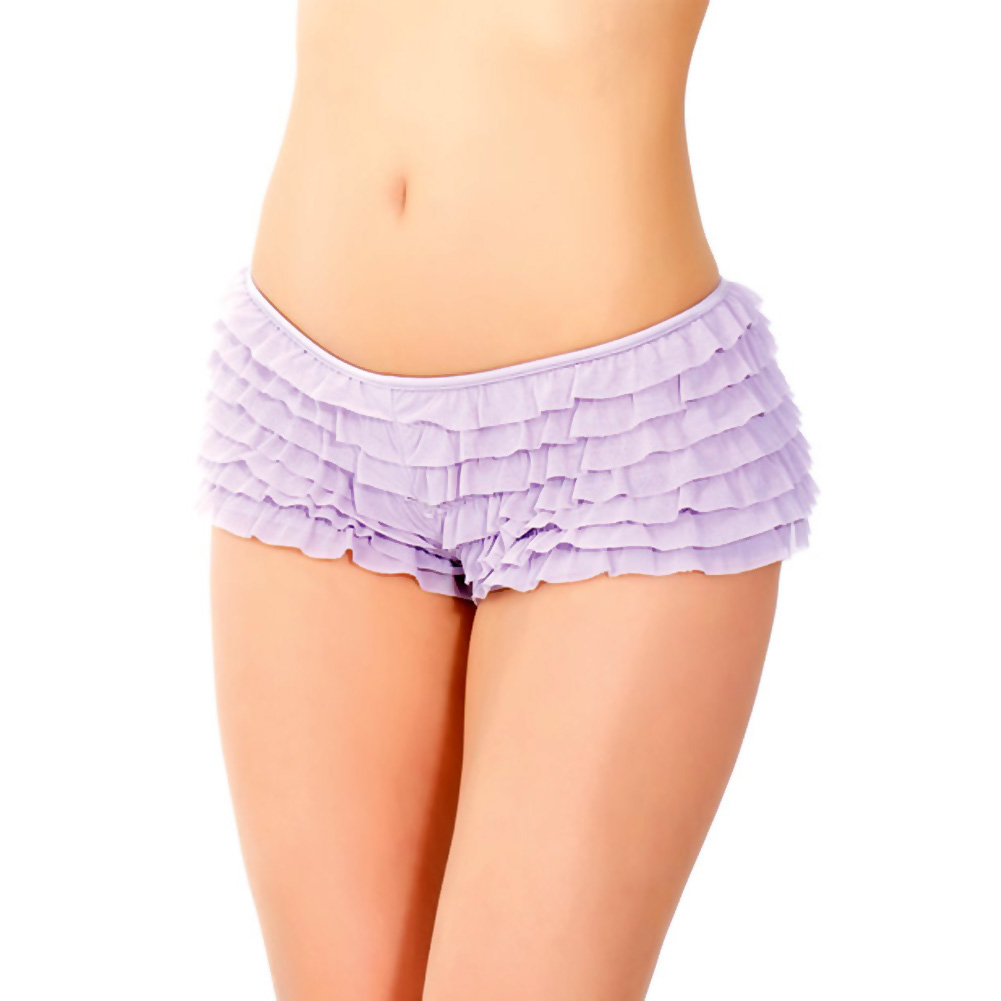 Ruffle Shorts with Back Bow Detail Lilac One Size Extra Large - View #4