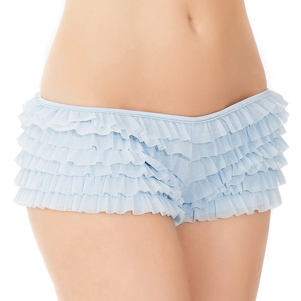 Ruffle Shorts with Back Bow Detail Blue One Size Extra Large - View #2