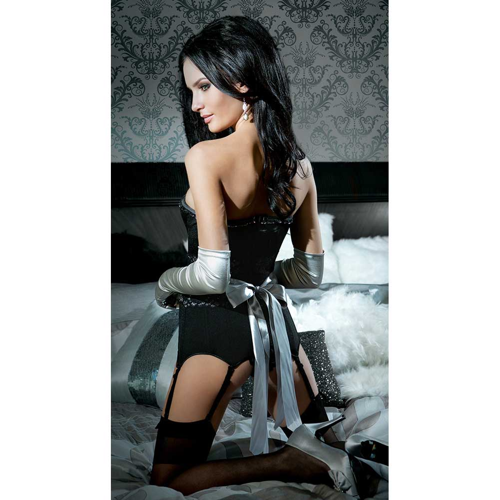 Spellbound Fully Boned Corset with Six Garters Removable Strps and Ribbon Restraints Extra Large - View #4