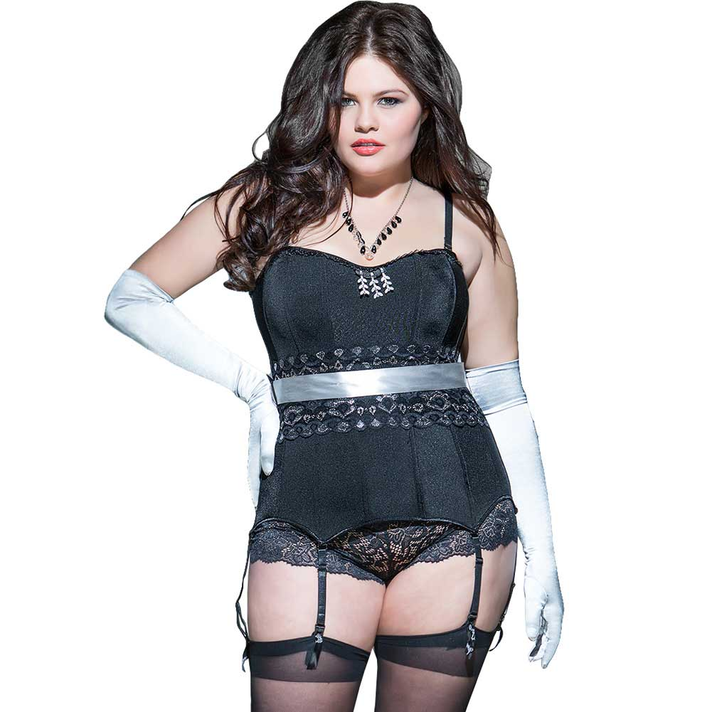 Spellbound Fully Boned Satin Knit Corset with Garters and Ribbon Restraints Plus Size 1X/2X Black - View #1