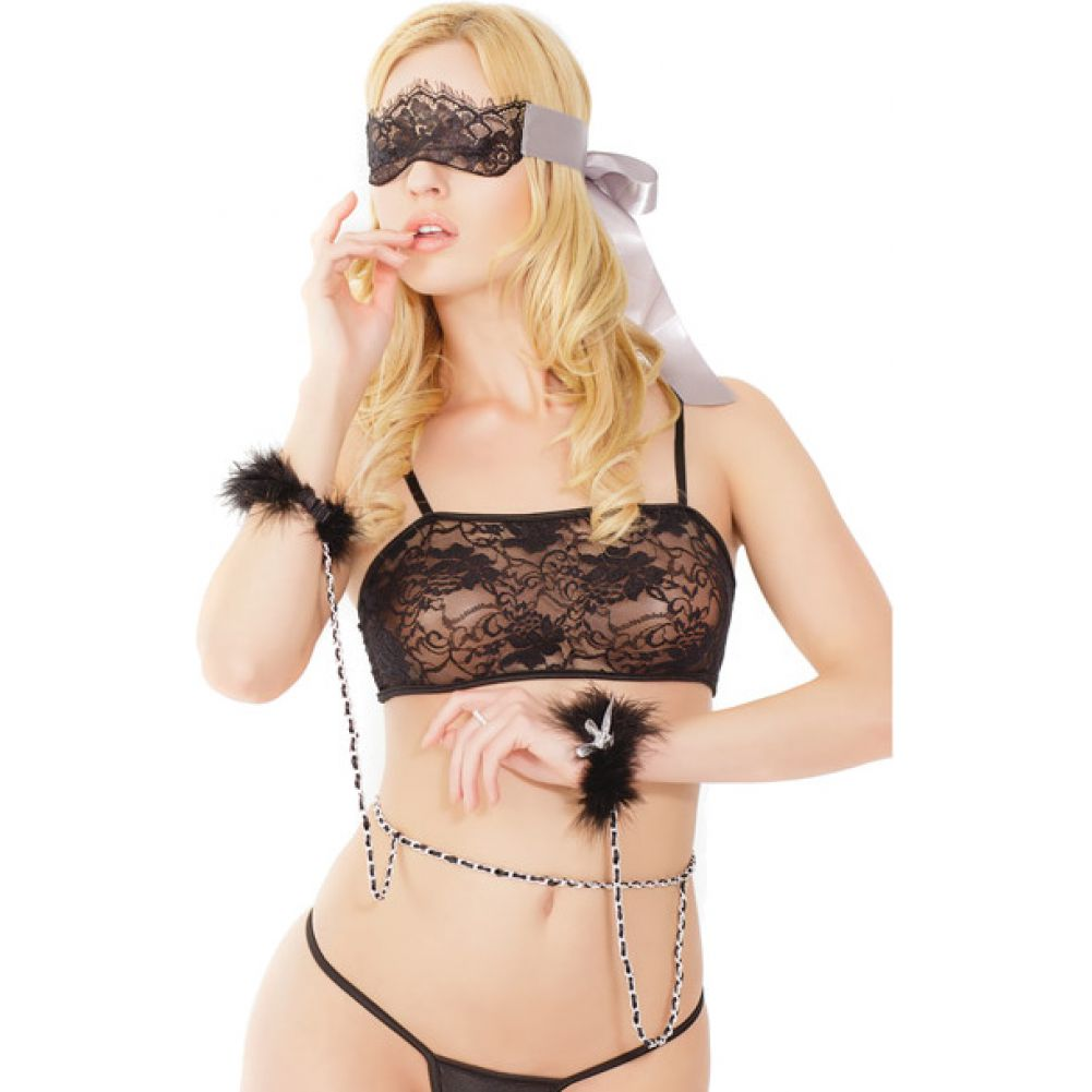 Chain Belt with Attached Faux Fur Cuffs and Lace Mask Black Silver One Size - View #1