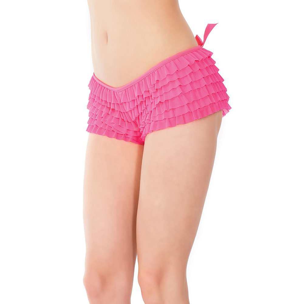 Coquette Lingerie Ruffle Shorts with Back Bow Detail Extra Large Neon Pink - View #4