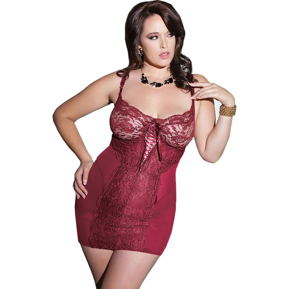 Powernet Chemise with Soft Lace and Underwire Cups Merlot Plus Size 1X 2X - View #1