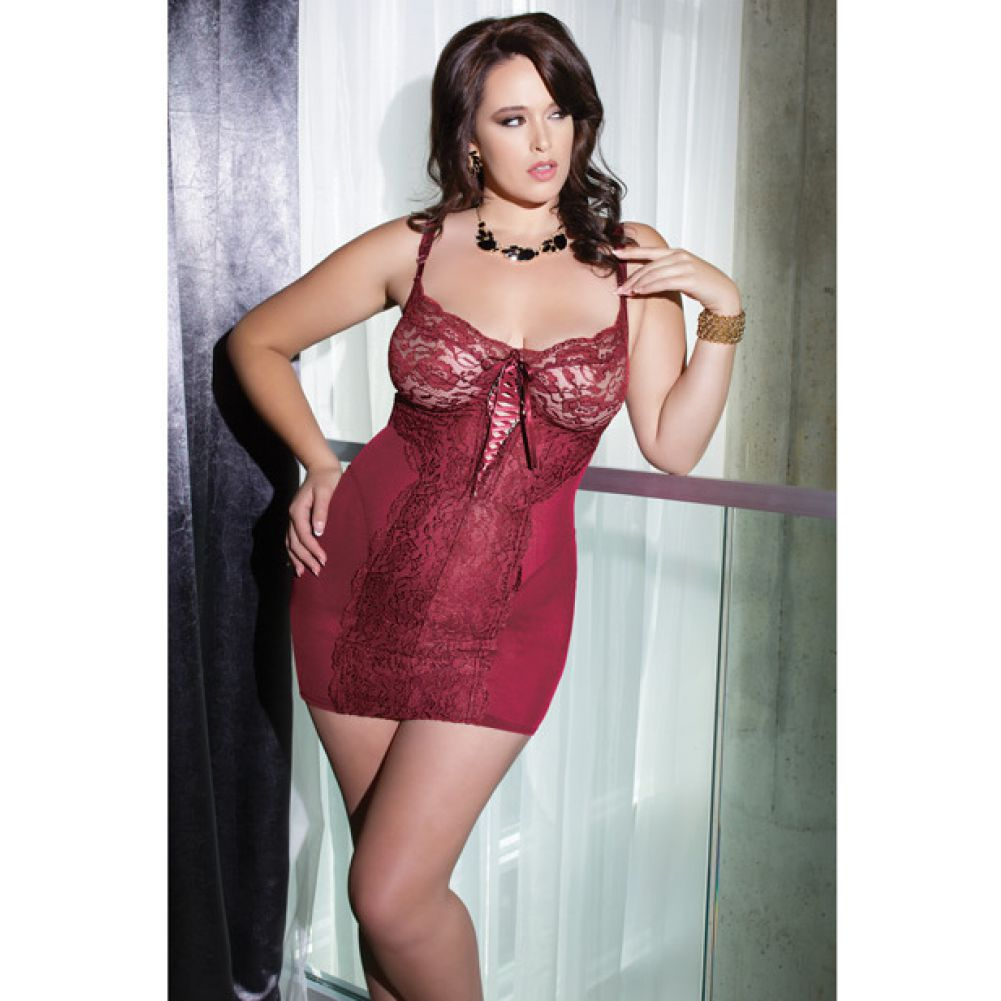 Powernet Chemise with Soft Lace and Underwire Cups Merlot Plus Size 1X 2X - View #3