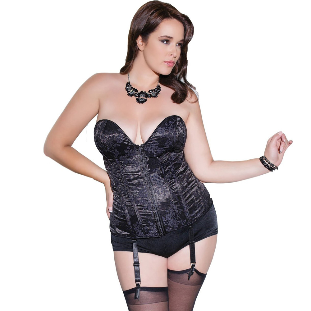 Fully Boned Deep V Neckline Corset with Removable Garters and Straps Black Plus Size 3X 4X - View #1