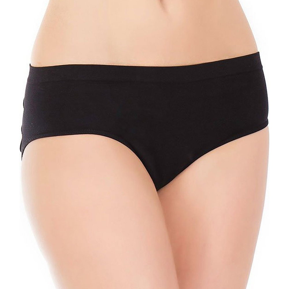 Stretch Knit Panty with Center Back Slashes Plus Size Black - View #2