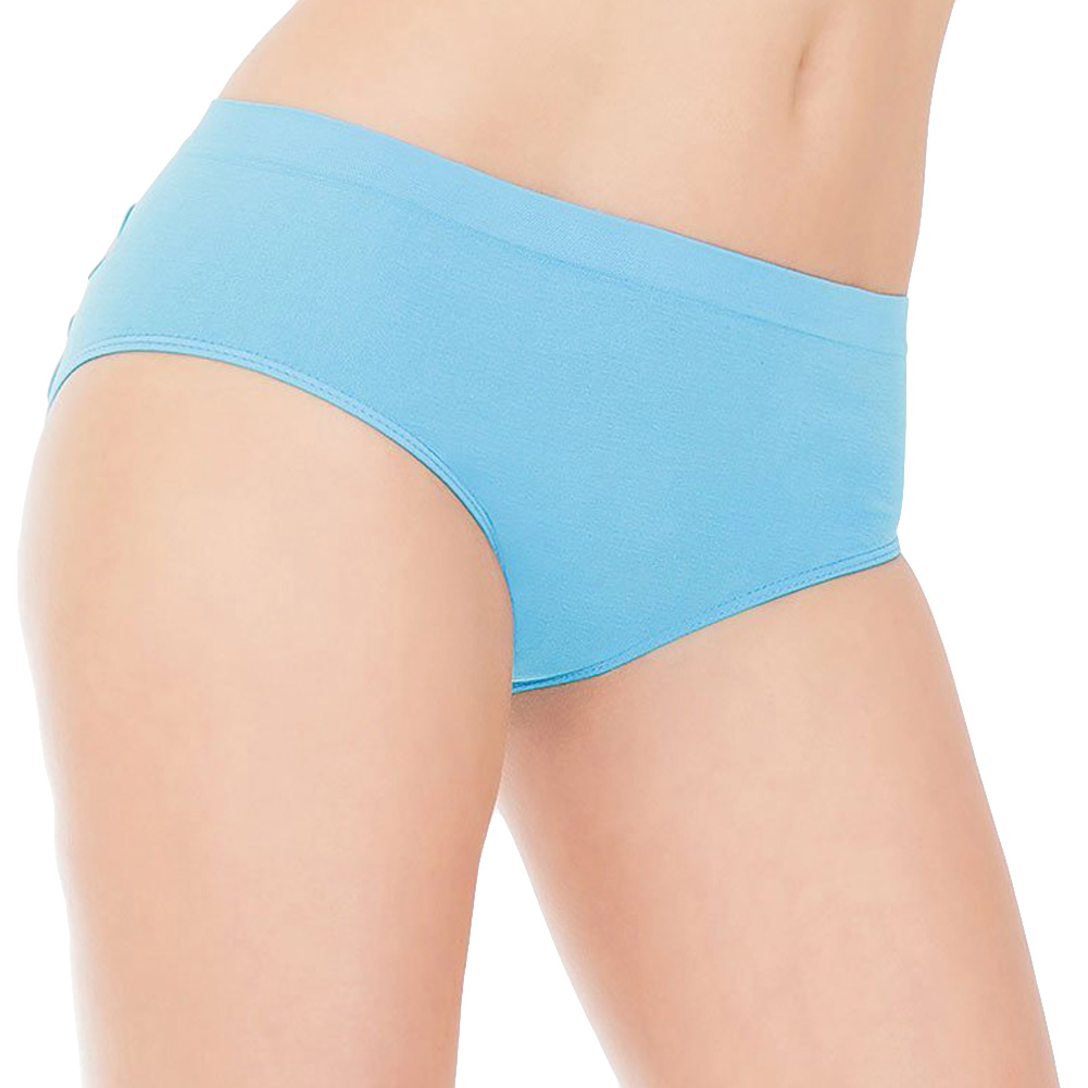 Stretch Knit Panty with Center Back Slashes Plus Size Blue - View #2