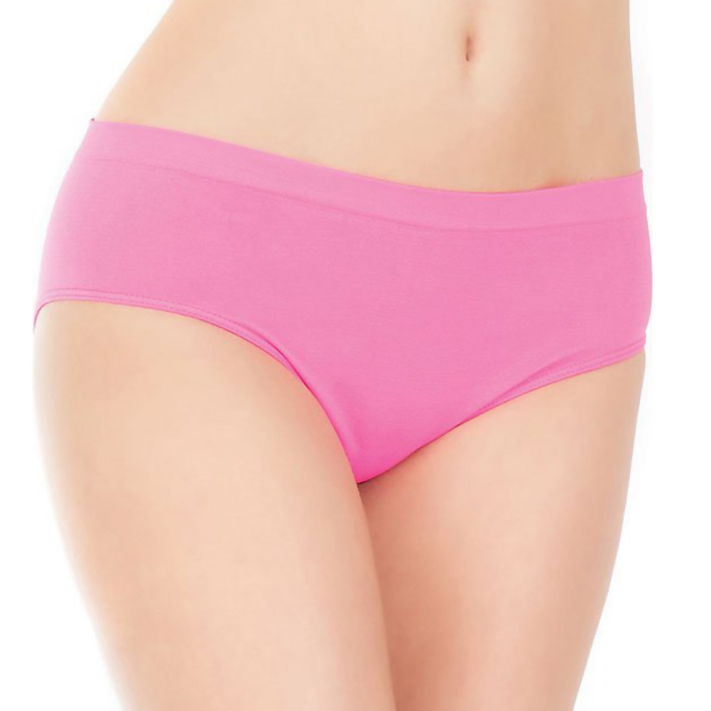 Stretch Knit Panty with Center Back Slashes Neon Pink One Size - View #2