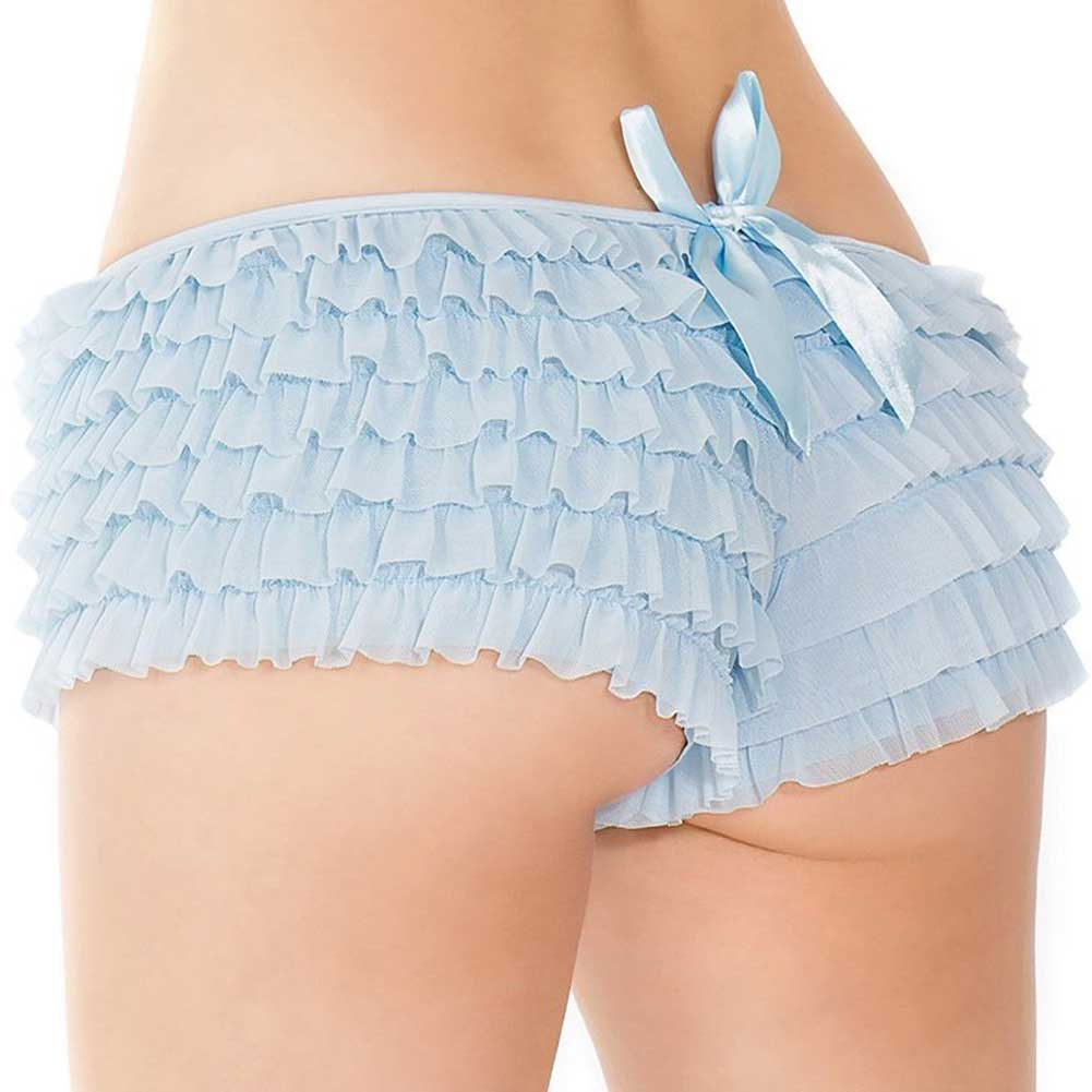 Coquette Lingerie Ruffle Shorts with Back Bow Detail XXL Blue - View #1