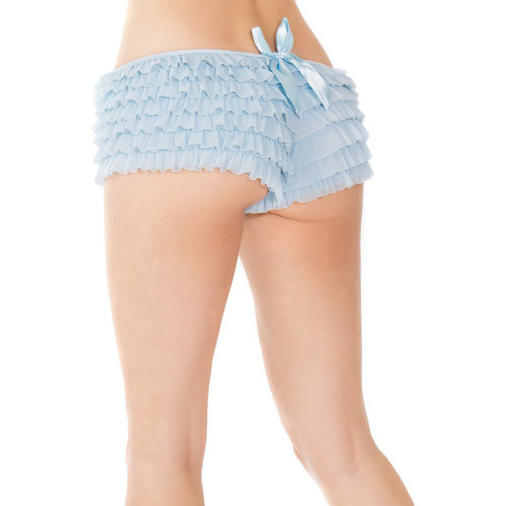 Coquette Lingerie Ruffle Shorts with Back Bow Detail XXL Blue - View #3