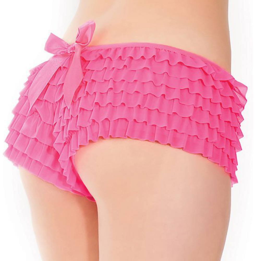 Ruffle Shorts with Back Bow Detail Neon Pink XXL - View #1
