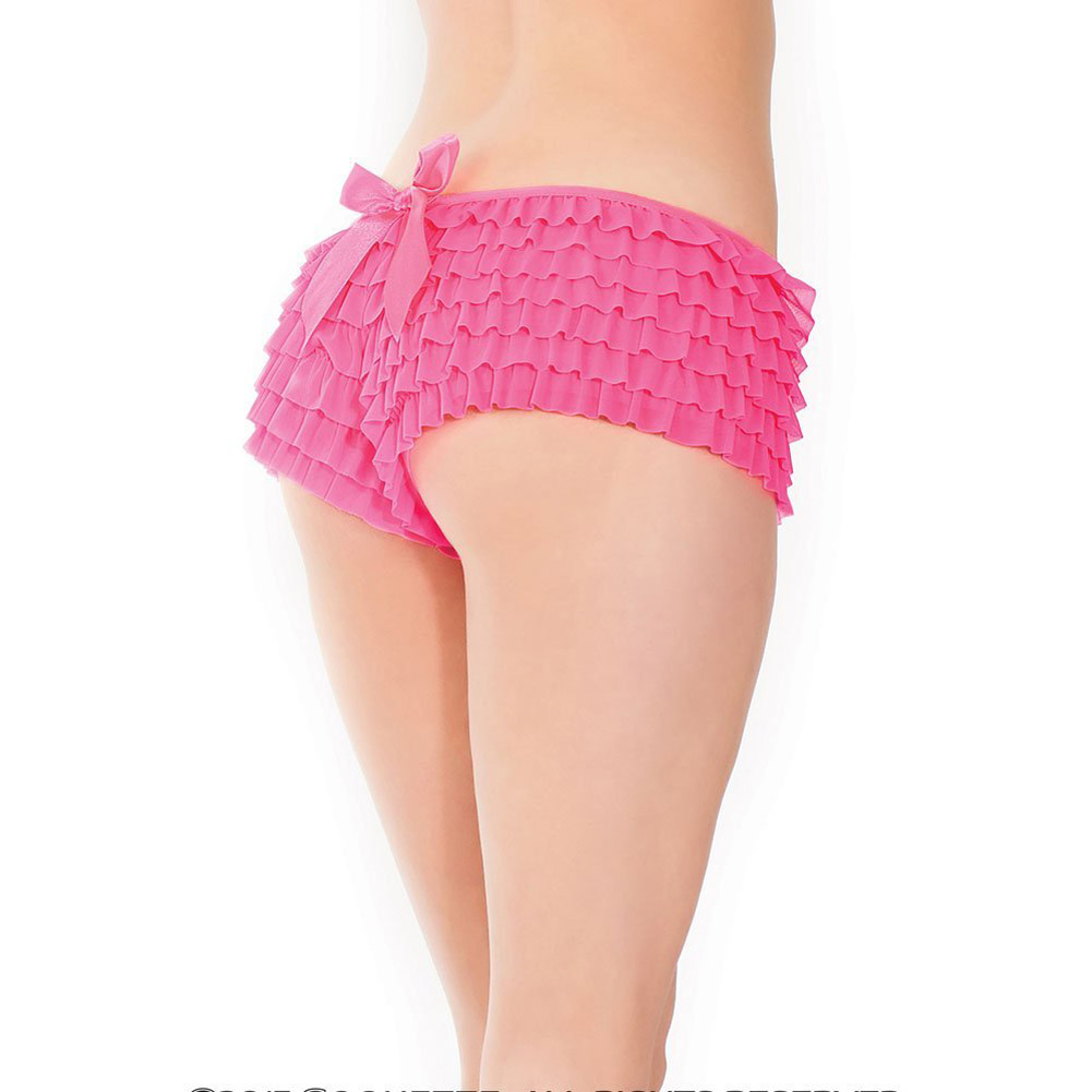 Ruffle Shorts with Back Bow Detail Neon Pink XXL - View #3