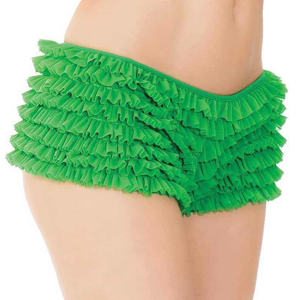 Ruffle Shorts with Back Bow Detail Green XXL - View #2