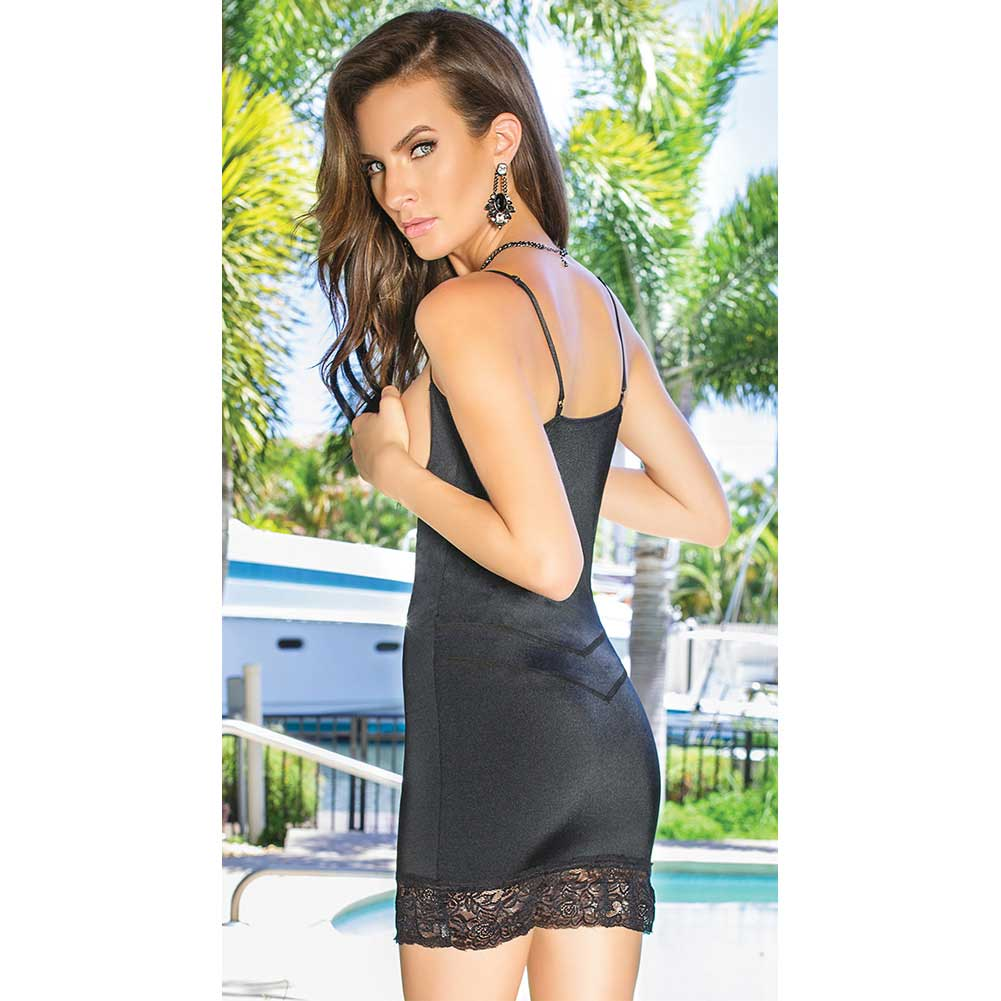 Stretch Knit Open Bust Chemise with Inner Powernet Panels for Shaping Black Small - View #2