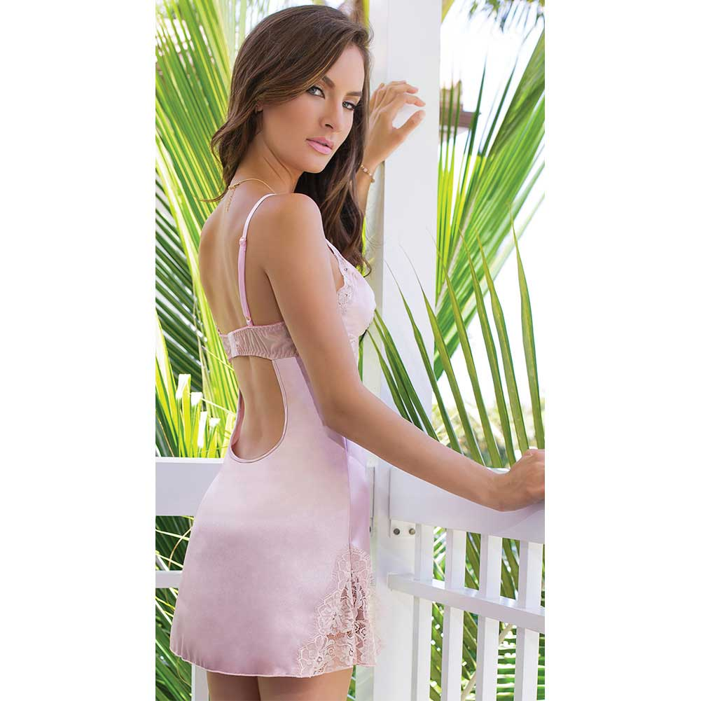 Satin and Powernet Triangle Cup Chemise with Adjustable Straps Dust Rose Extra Large - View #4