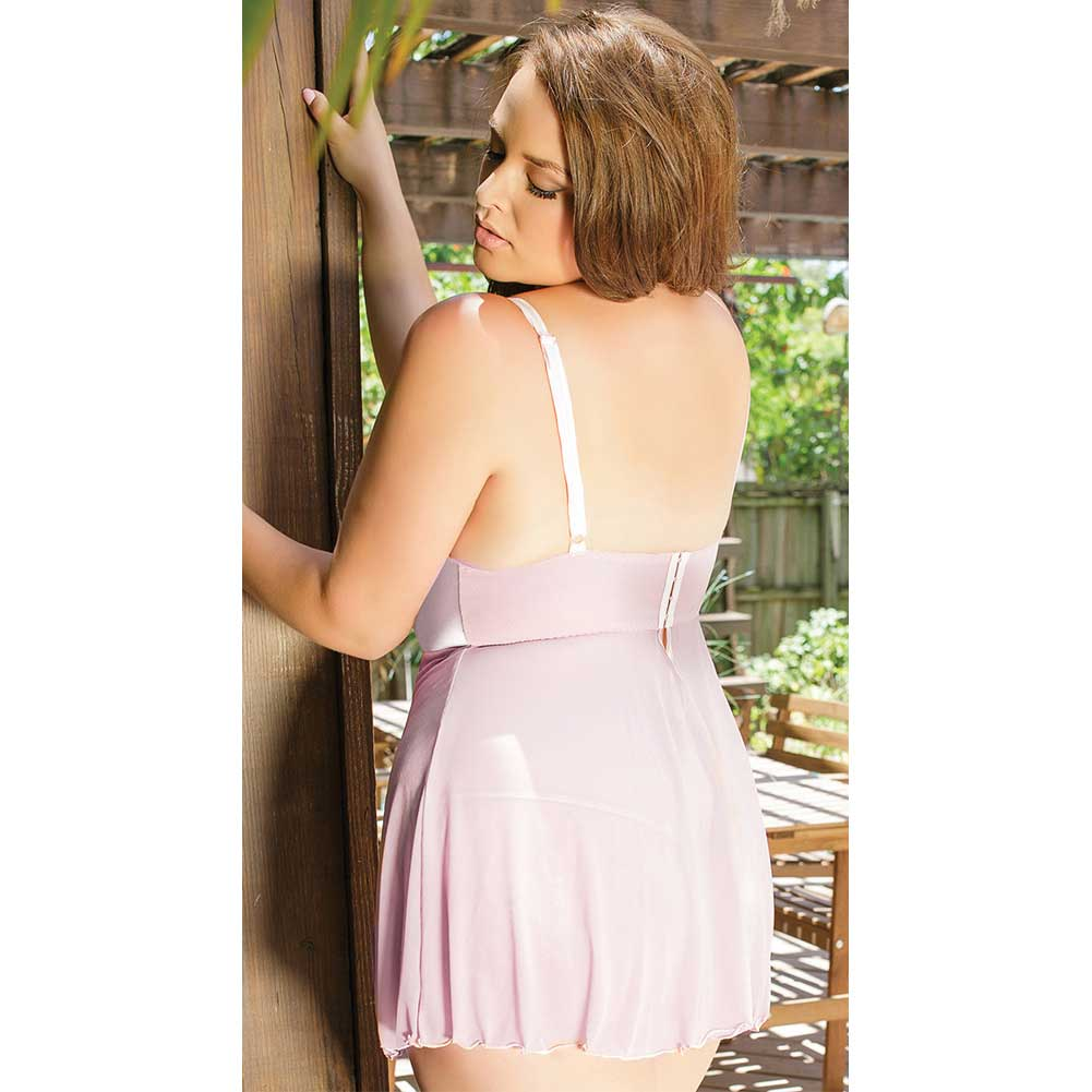 Eyelash Lace Mesh and Satin Underwire Soft Cup Babydoll with Adjustable G-String Rose Dust 3X 4X - View #4