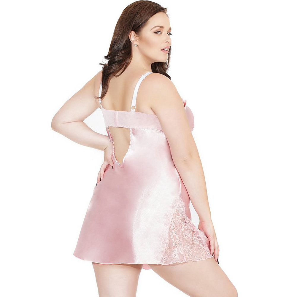 Satin and Powernet Triangle Cup Chemise with Adjustable Straps Dust Rose Plus Size 3X 4X - View #2