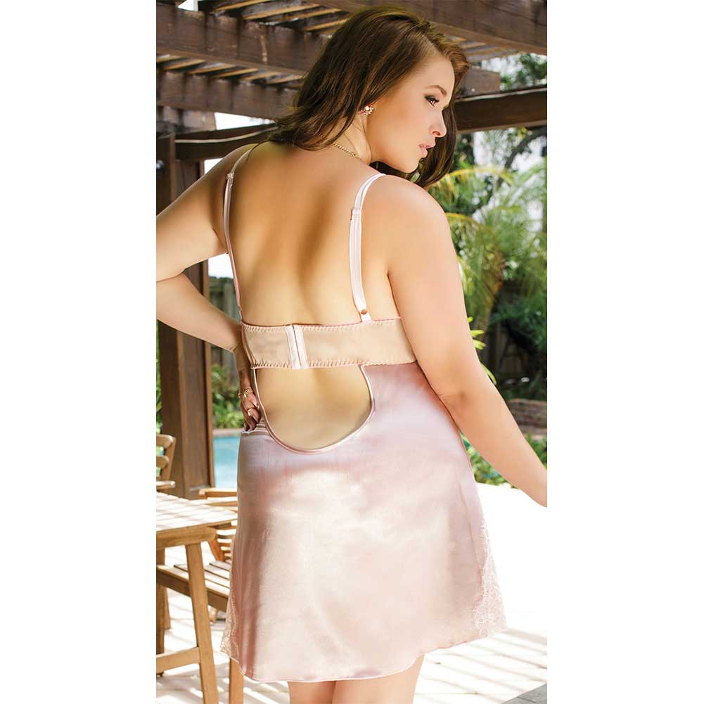 Satin and Powernet Triangle Cup Chemise with Adjustable Straps Dust Rose Plus Size 3X 4X - View #4