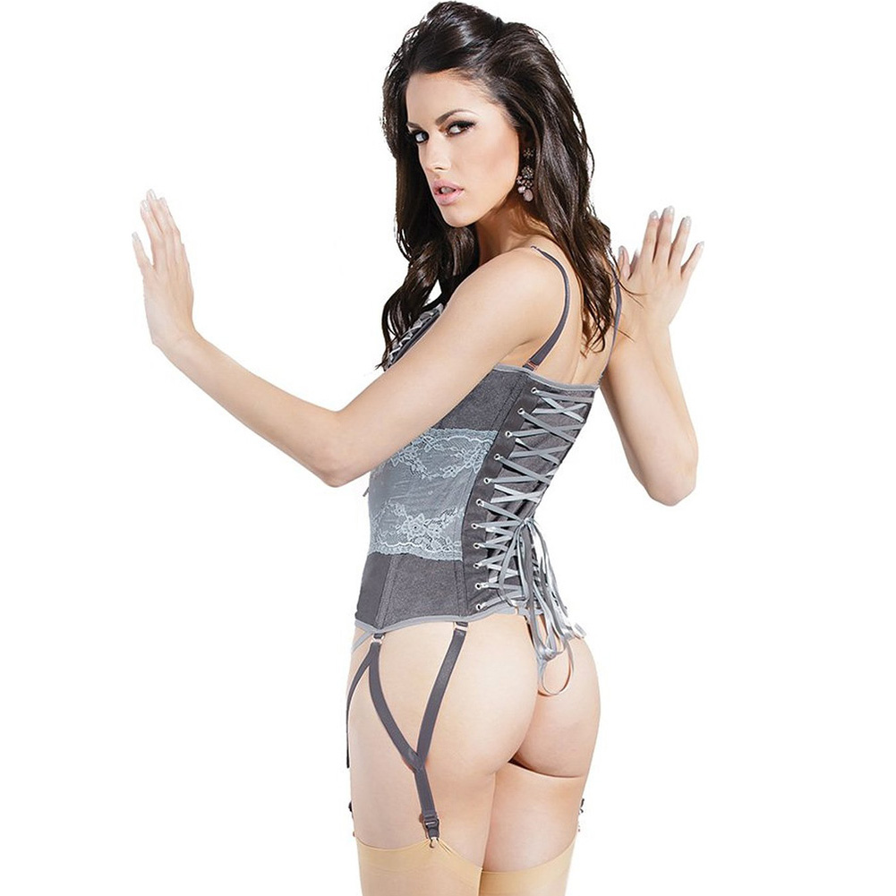 Spellbound Stretch Knit Corset with Removable Straps and Garters Dark Silver Silver Large - View #2