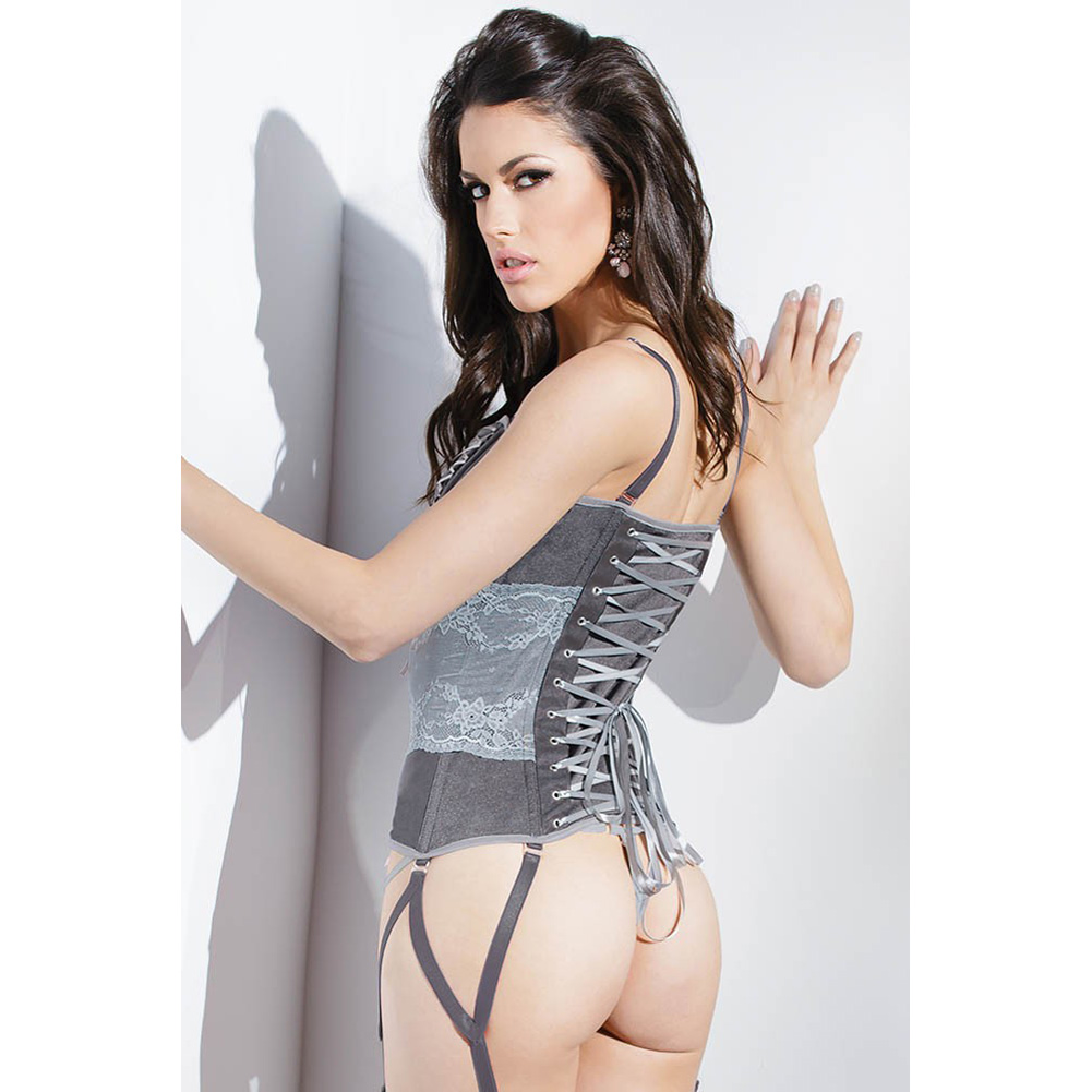 Spellbound Stretch Knit Corset with Removable Straps and Garters Dark Silver Silver Large - View #4