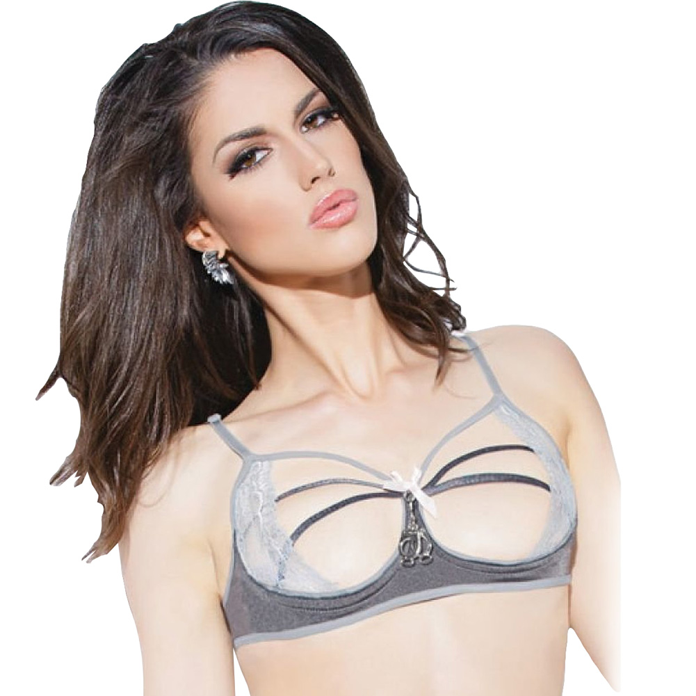 Spellbound Stretch Knit and Lace Cupless Bra with Mini Handcuff Charm Dark Silver/Silver Medium - View #1