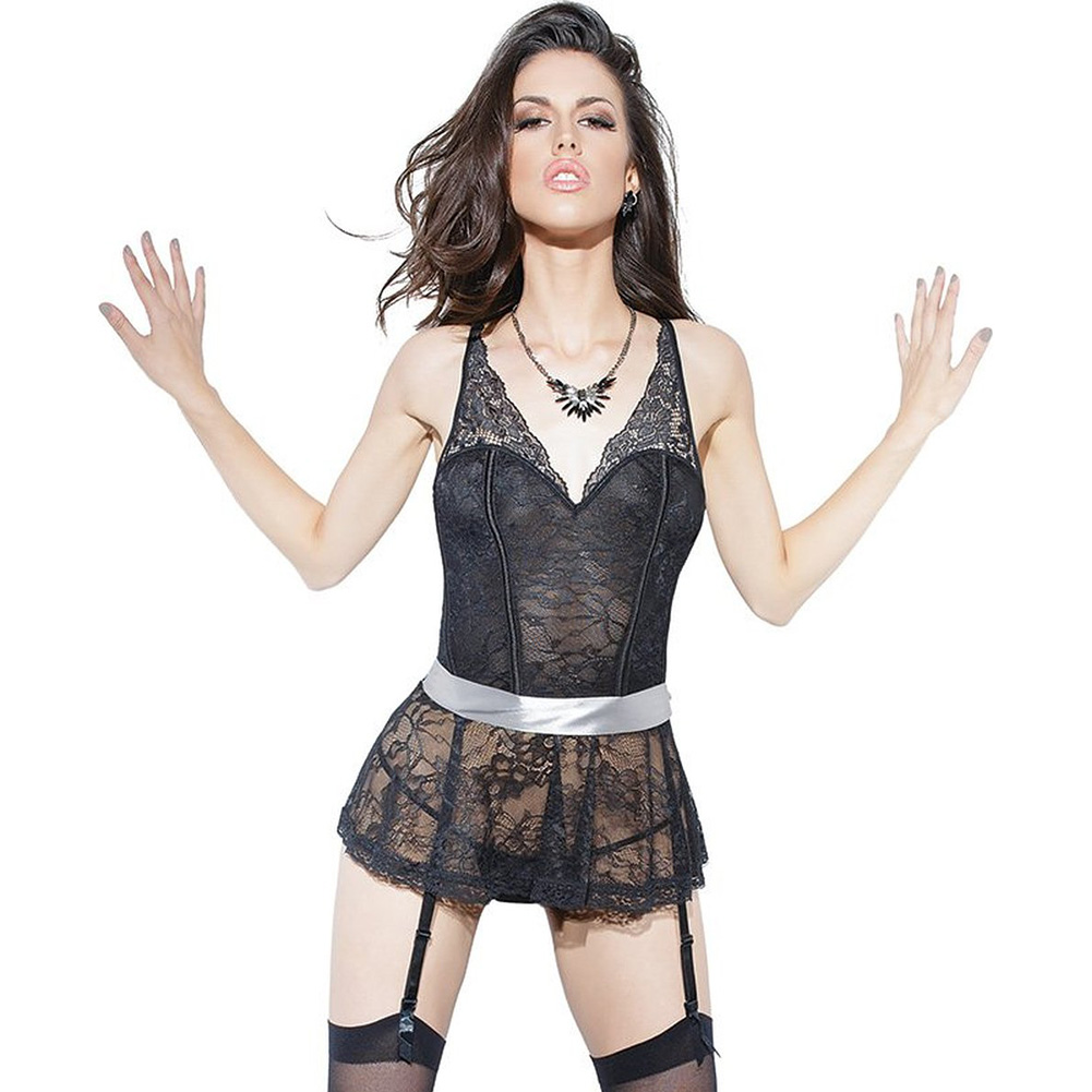 Spellbound Stretch Lace Peplum Corset with Removable Ribbon Belt and Garters Black Silver Small - View #1